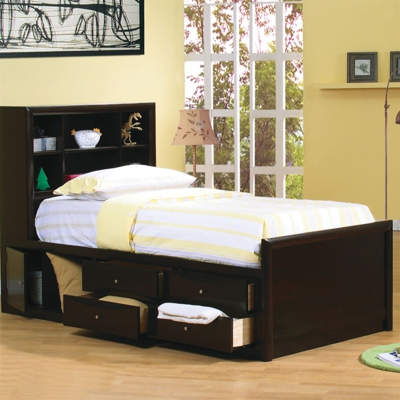 Most Popular Storage Bed With Bookcases Headboard Pertaining To Bookcases Ideas: Twin Storage Bed With Bookcase Headboard – Foter (View 8 of 15)