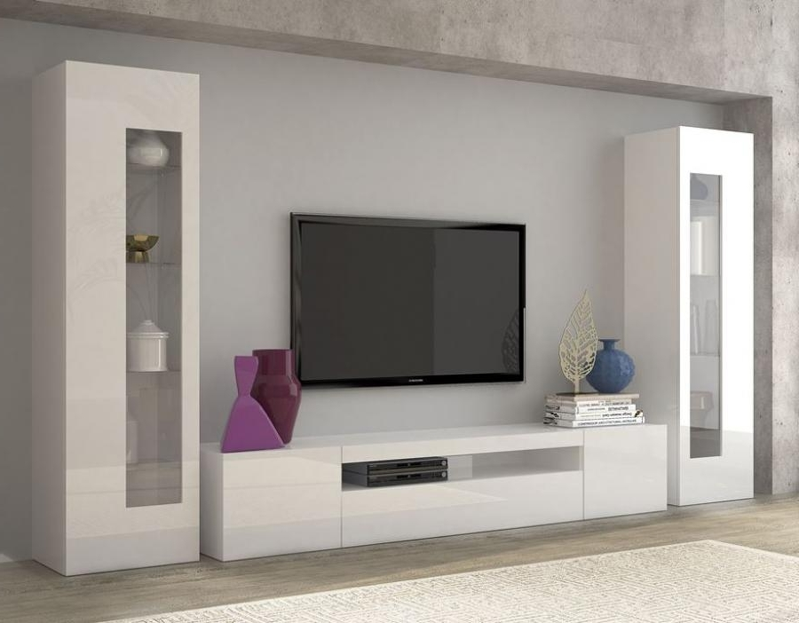 Most Popular Tv Wall Unit Inside Modern Tv Cabinet And Display Units Combination In White Living (View 14 of 15)