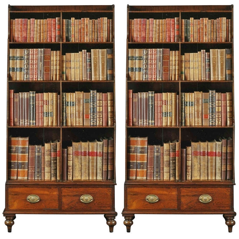 Most Popular Very Tall Bookcases Inside A Fine Pair Of Georgian Rosewood And Brass Inlaid Tall Bookcases (View 4 of 15)