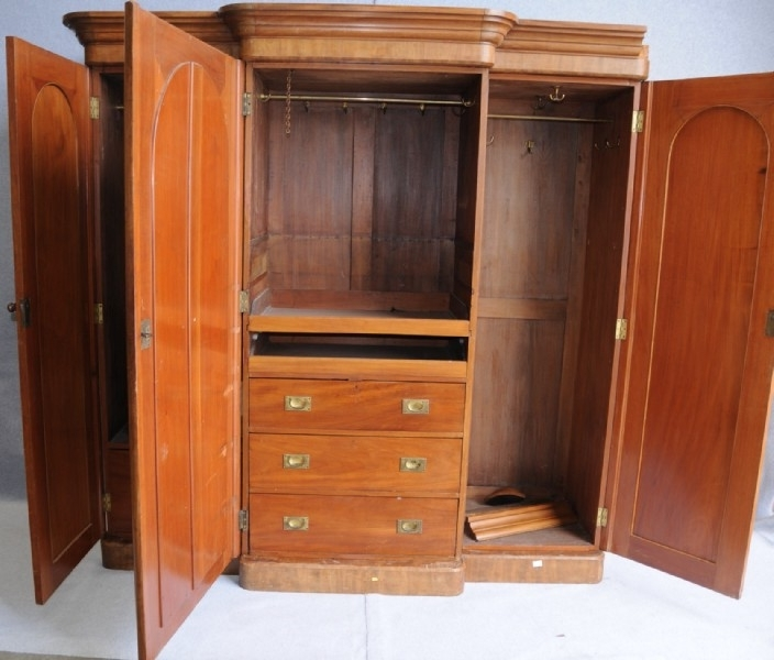 Most Recent A Victorian Flame Mahogany Breakfront Wardrobe (View 6 of 15)