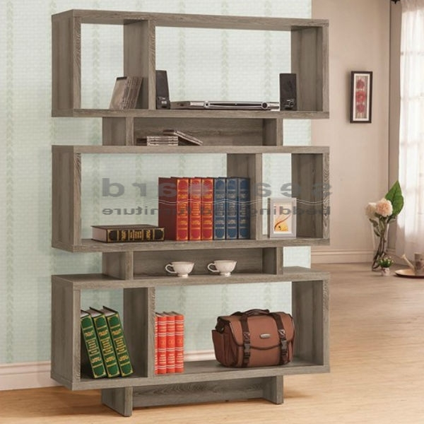 Most Recent Coaster 800554 Weathered Grey Open Bookcase Regarding Grey Bookcases (View 12 of 15)
