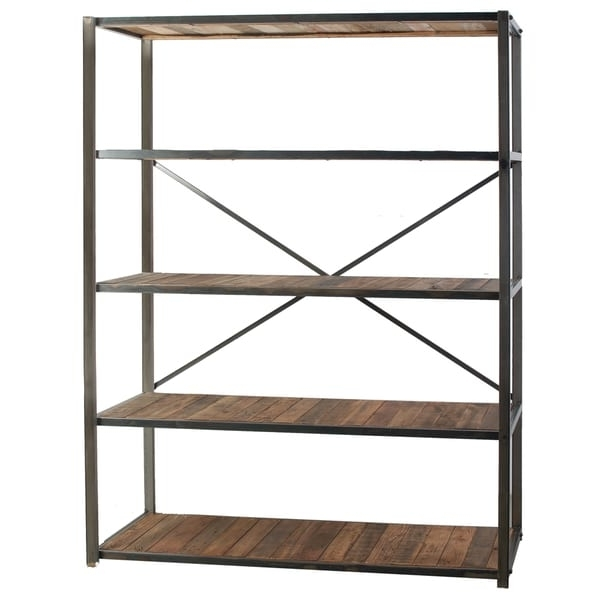 Most Recent Iron And Wood Bookcases In Liso Four Tiered Metal And Wood Bookshelf – Free Shipping Today (View 11 of 15)