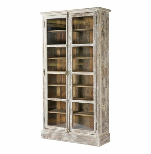 Most Recent Lorraine Heavy Vintage White French Country Bookcase Cabinet Inside Vintage Bookcases (View 8 of 15)