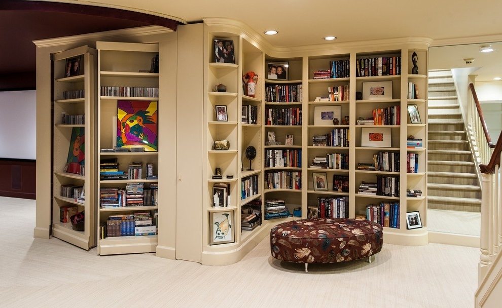 Most Recent Traditional Bookshelves Regarding Superb Corner Bookshelf Decorating Ideas For Basement Traditional (View 10 of 15)