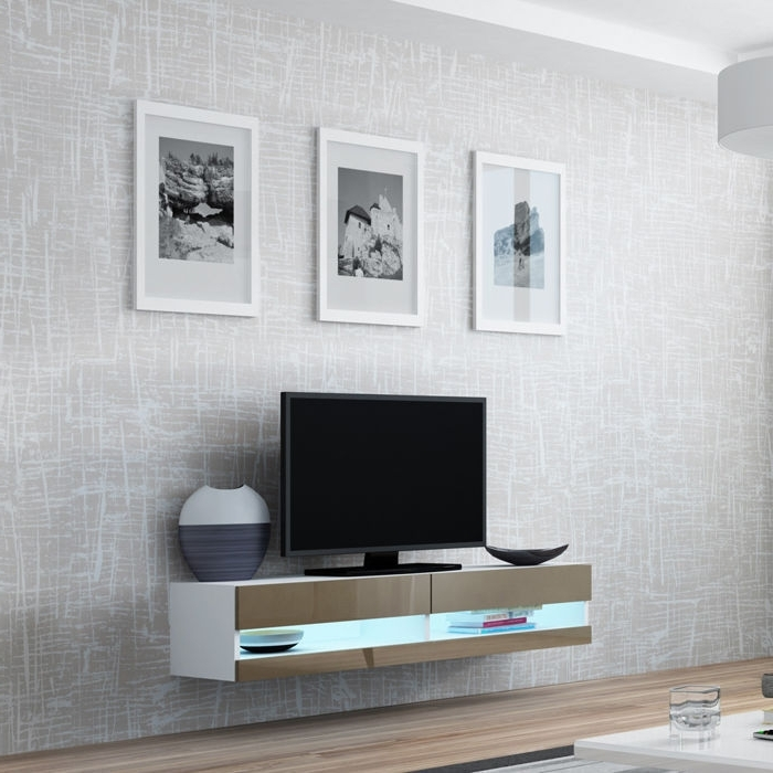 Most Recent Vilalba 140Cm Tv Stand / Floating / Wall Mountable Unit High Gloss Intended For Tv Wall Unit (View 7 of 15)