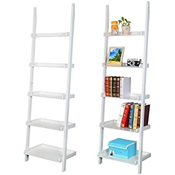 Most Recent White Ladder Shelf With Regard To Amazon: Topeakmart Living Room White Wooden 70 Inch 5 Tier (View 3 of 15)