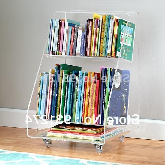 Most Recently Released Acrylic Bookcases Intended For Rolling Acrylic Bookcase 2 Tiers,clear Perspex Living Room Storage (View 12 of 15)