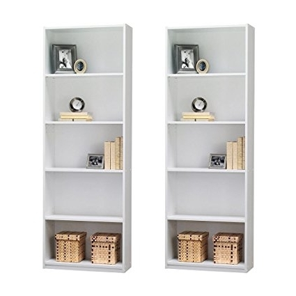 Most Recently Released Amazon: Ameriwood 5 Shelf Bookcase, Set Of 2, White: Kitchen Regarding Ameriwood 5 Shelf Bookcases (View 3 of 15)