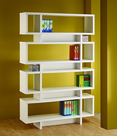 Most Recently Released Amazon: Coaster Bookshelf, White: Kitchen & Dining For Coaster Bookcases (View 13 of 15)