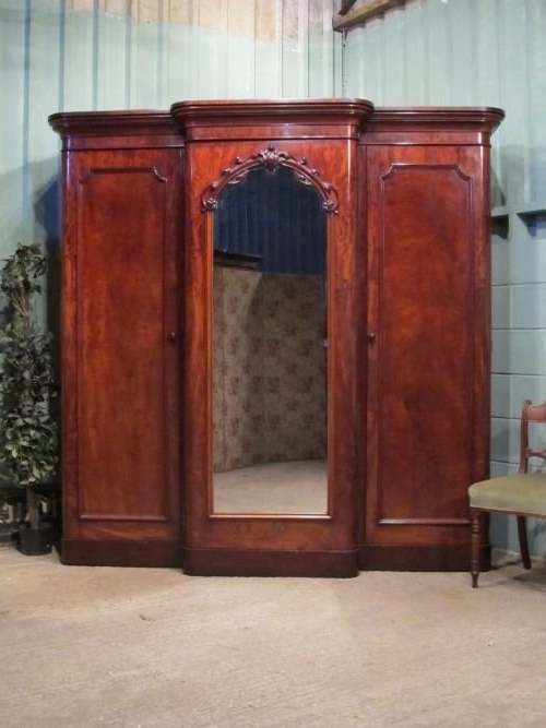 Most Recently Released Antique Victorian Mahogany Triple Breakfront Wardrobe Armoire Intended For Victorian Breakfront Wardrobes (View 7 of 15)