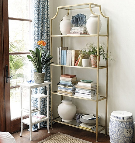 Most Recently Released Ballard Designs Bookcases Throughout High Fashion Home Chloe Gold Etagere – Copycatchic (View 13 of 15)
