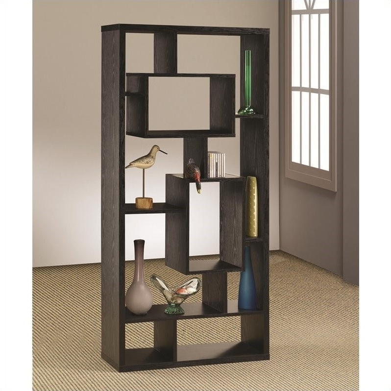 Most Recently Released Coaster Bookcases Pertaining To Coaster Contemporary Asymmetrical Cube Bookcase Black Finish – 800262 (Gallery 9 of 15)