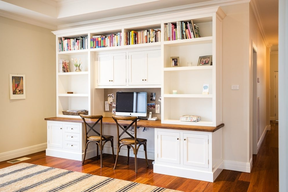 Most Recently Released Desk With Bookshelves Above Home Office Traditional With Built In Within Desk With Bookcases (View 9 of 15)
