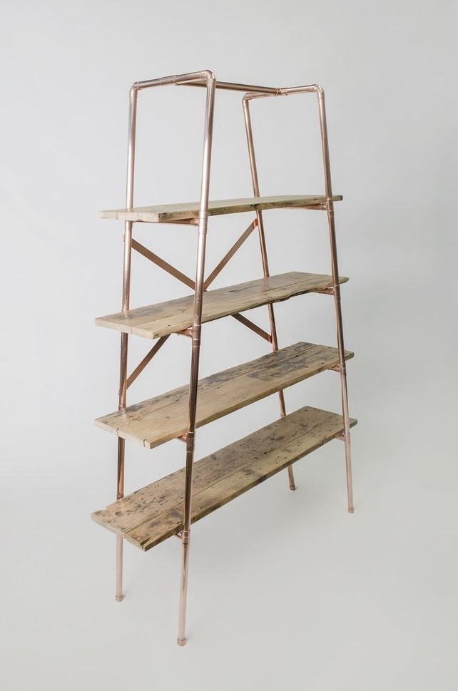 Most Recently Released Free Standing Shelving Units Wood Within Large 4 Shelf Tapered Copper Pipe And Reclaimed Wood Free Standing (View 11 of 15)