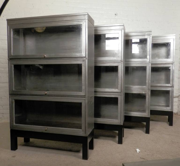 Most Recently Released Metal Bookcases With Regard To Mid Century Stack Metal Barrister Bookcase (Single Unit) At 1Stdibs (View 10 of 15)