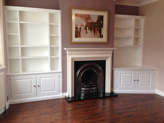 Most Recently Released Painted Shelving Units With White Painted Alcove Shelving Units With Lighting – Modern (View 8 of 15)