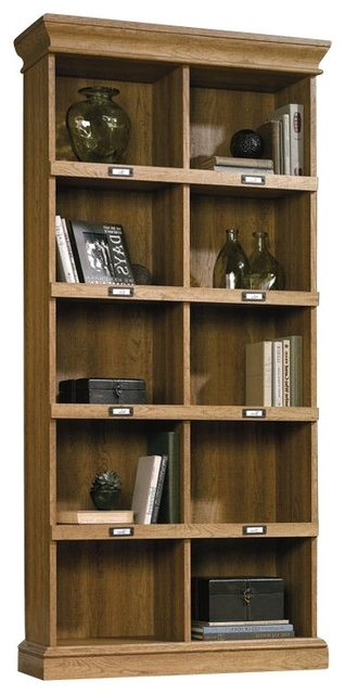 Most Recently Released Sauder Bookcases With Sauder – Sauder Barrister Lane Tall Bookcase In Scribed Oak Finish (View 6 of 15)