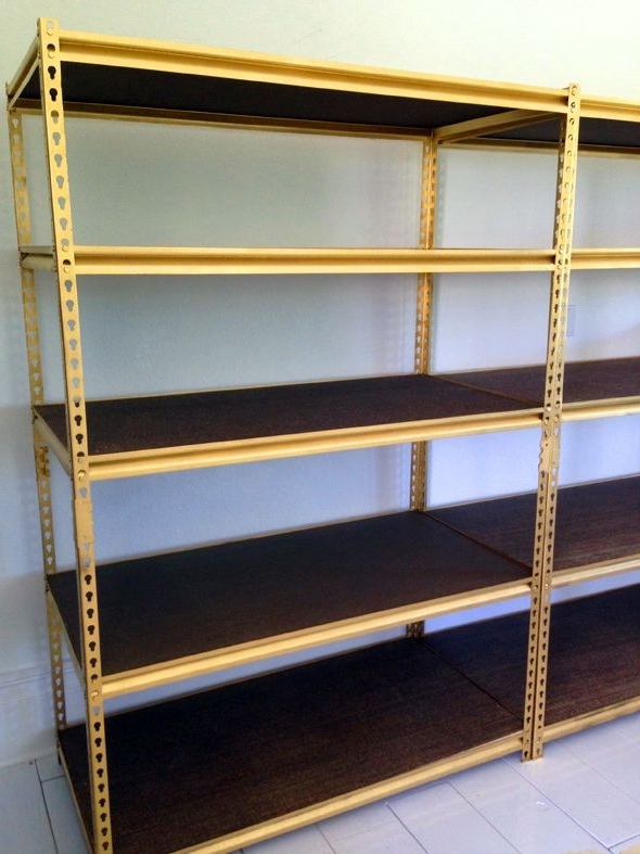 Most Recently Released Spray Paint Inexpensive Shelving Gold (View 9 of 15)