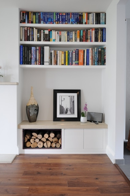 Most Up To Date Alcove Log Storage And Book Shelves Inside Living Room Fitted Cabinets (View 9 of 15)