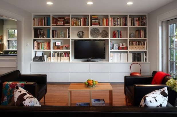 Most Up To Date Bookcases With Tv Space Pertaining To How To Get That Built In Media Wall You Really Want (View 10 of 15)