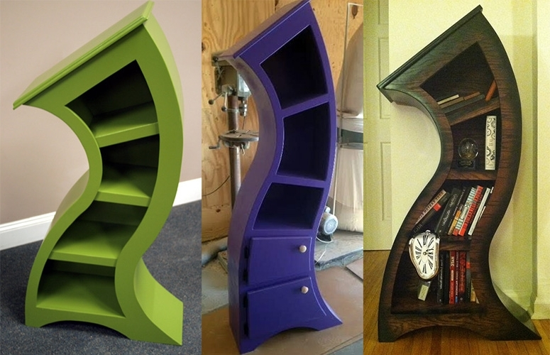 Most Up To Date Bookshelves Handmade For Handmade Curved Wooden Bookshelves – The Green Head (View 6 of 15)