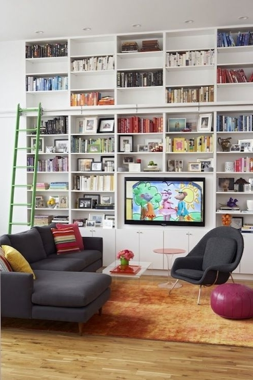 Most Up To Date Bookshelves With Tv Space With Wall Units: Inspiring Built In Bookshelves With Tv Built In (View 9 of 15)