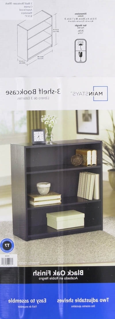 Most Up To Date Mainstays 3 Shelf Bookcases Inside Mainstays 3 Shelf Bookcase, Black – Walmart (View 9 of 15)