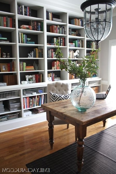 Most Up To Date Wall Bookcases Inside Love The Huge Wall To Wall Bookcases In This Home Office (View 7 of 15)