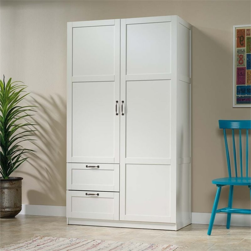 Most Up To Date White Wardrobes Armoire With Regard To Sauder Select Wardrobe  Armoire In White