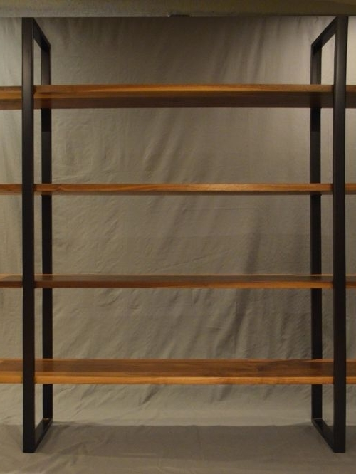 Newest Floating Walnut And Steel Bookcase Within Metal And Wood Bookcases (View 13 of 15)