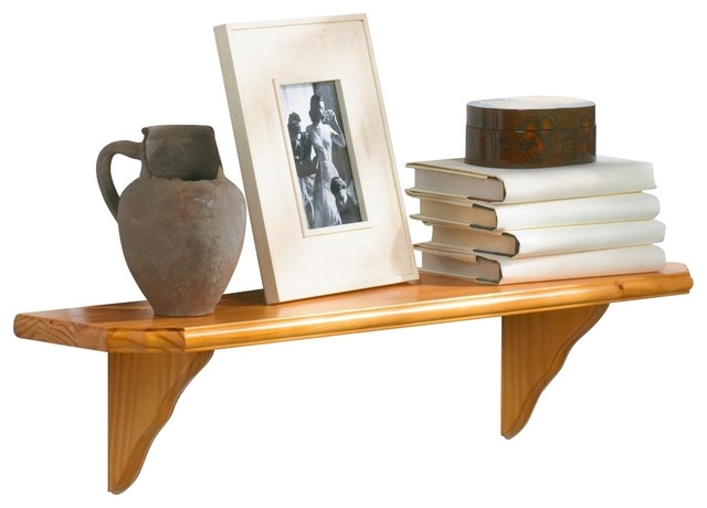Newest Oak Wall Shelves Pertaining To Solid Wood Shelf Kit W Curved Brackets & Oak Finish, Venezia,  (View 7 of 15)