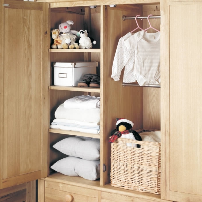 Newest Oak Wardrobe With Drawers – Children's Double – Baumhaus Amelie Inside Wardrobe With Shelves And Drawers (View 7 of 15)