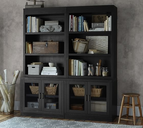 Newest Reynolds Open Bookcase With Glass Door Cabinets (View 10 of 15)