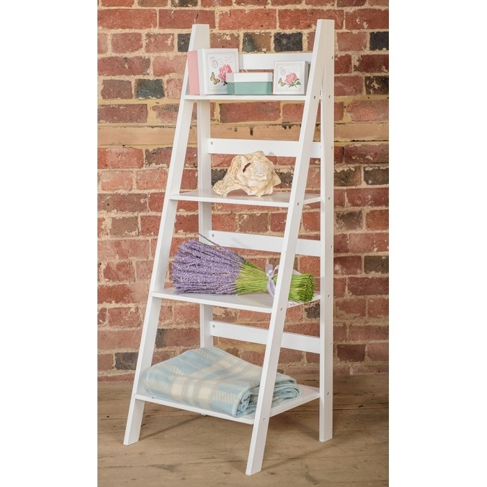 Newest White Ladder Shelf Throughout White Ladder Shelf With Four Tiers (View 2 of 15)