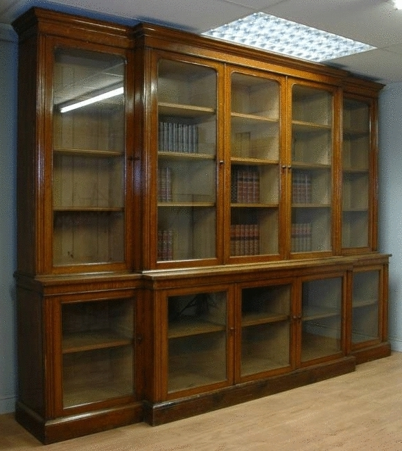 Oak Library Bookcases Intended For Popular Oak Bookcases With Doors Oak Bookshelves With Glass Doors Small (View 9 of 15)