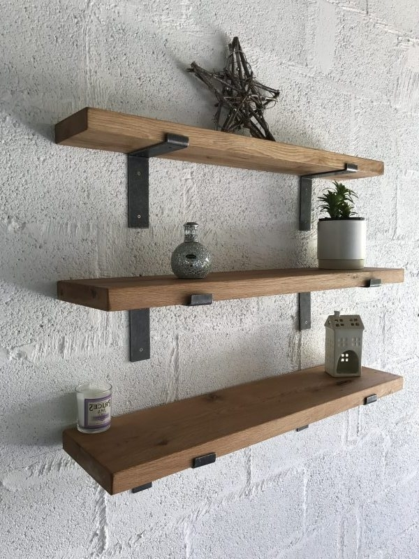 Oak Shelves – Kiln Dried With L Shape Brackets • Celtic Timber For Widely Used Oak Shelves (View 9 of 15)