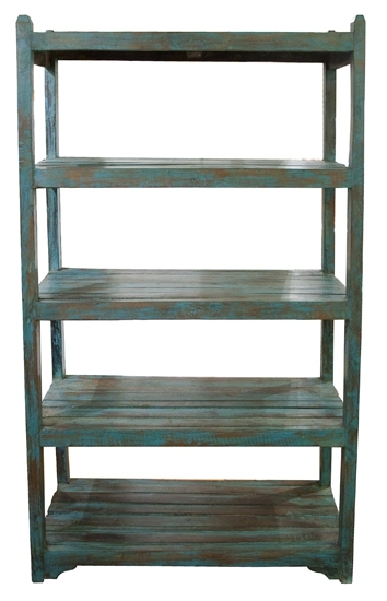 Painted Shelving Units Intended For Recent Distressed Painted Teak Wood Shelving Unit : The Old Cinema (View 6 of 15)