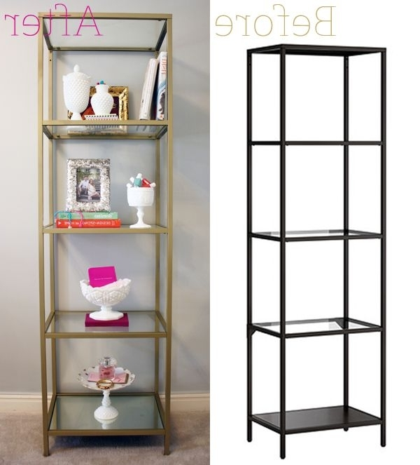 Painted Shelving Units Regarding 2018 Ikea Vittsjo Shelving Unit – Spray Painted Gold 3 Cans Rust Oleum (View 5 of 15)