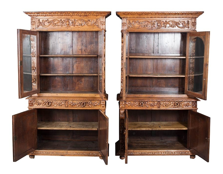 Pair Of Antique Bookcases Carved Throughout Most Popular Antique Bookcases (View 10 of 15)