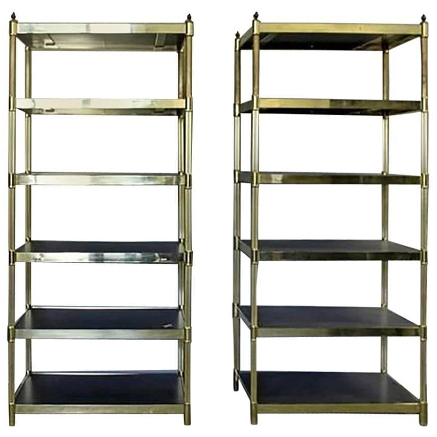 Pair Of Hollywood Regency Brass Etageres For Sale At 1Stdibs Regarding Recent Brass Bookcases (View 11 of 15)