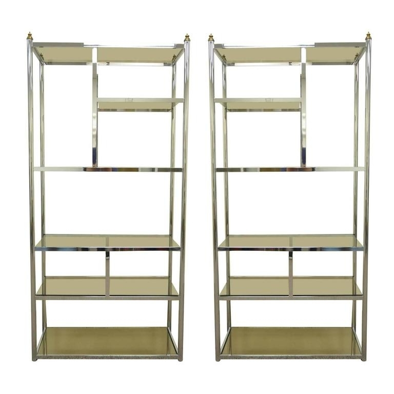 Pair Of Hollywood Regency Directoire Style Chrome And Brass Within Favorite Brass Bookcases (View 12 of 15)