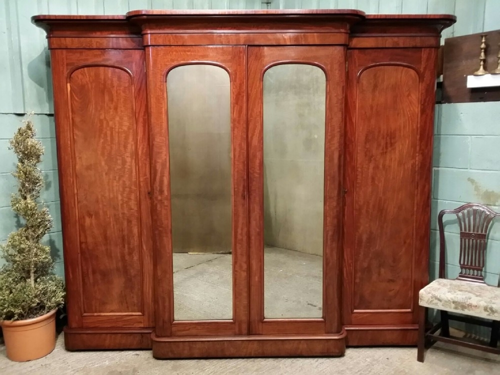 Popular Antique Victorian Mahogany Breakfront Wardrobe Compactum C1880 With Mahogany Breakfront Wardrobes (View 14 of 15)
