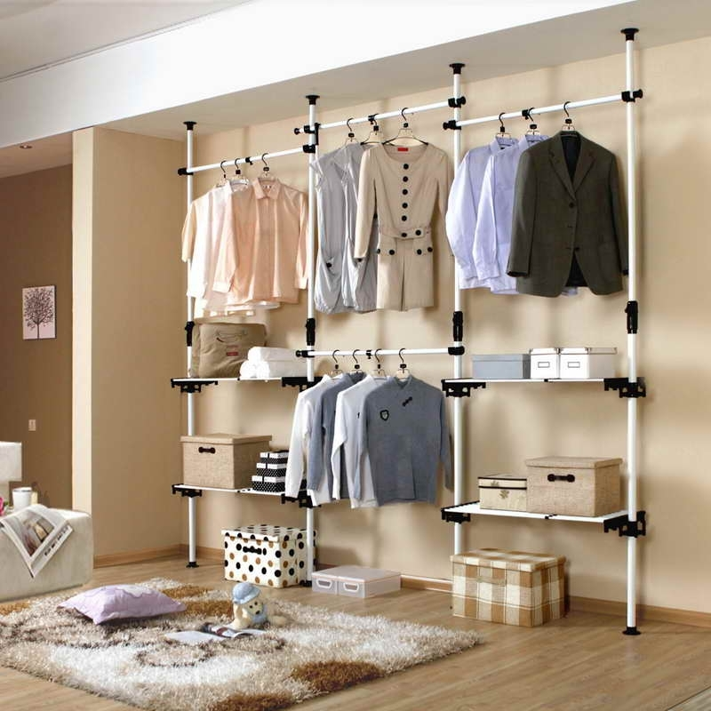 Popular Closets & Storages, : Diy Open Closet With Pipe Wire Shelving Intended For Wardrobes Hangers Storages (View 8 of 15)