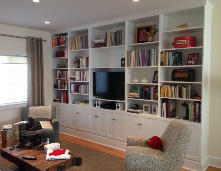 Popular Furniture : Awesome Design Of Floor To Ceiling Bookshelves To Within Bookshelves With Tv Space (View 11 of 15)