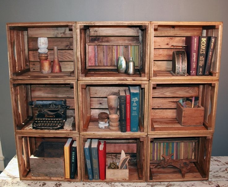 Popular Handmade Bookshelves Regarding Bookshelf Bookcase 9 Handmade Crates Reclaimed Wood Crates (View 10 of 15)