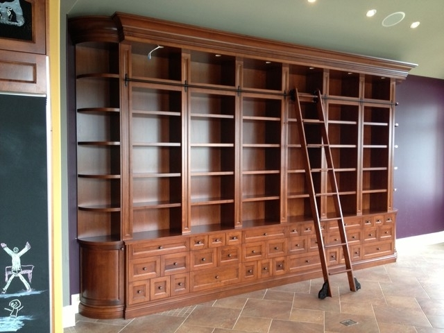 Popular Large Bookcases In Large Custom Bookcase With Rolling Ladder – Traditional – Other (View 8 of 15)