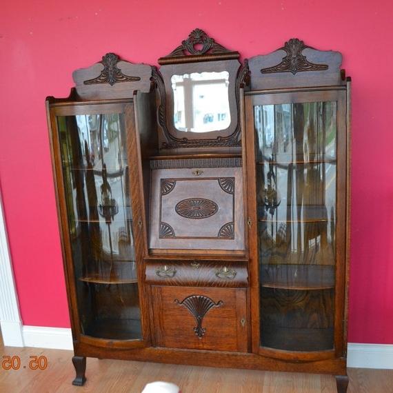 Popular Secretary Bookcases Throughout Unusual Antique Double Bookcase Secretary Desk, Quarter Sawn Oak (View 15 of 15)