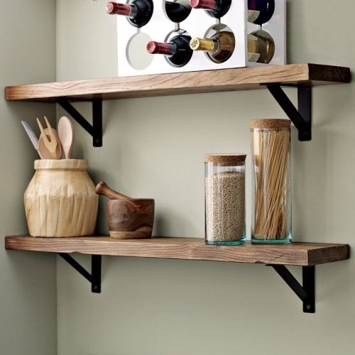 Popular Wooden Wall Shelves With Wall Shelves Design: Wood And Metal Wall Shelvescole And Grey (View 3 of 15)