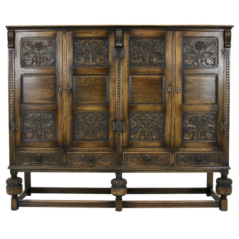 Preferred Antique Scottish Carved Oak 4 Door Cabinet, Pantry, Linen Cupboard Intended For Oak Linen Cupboard (View 13 of 15)
