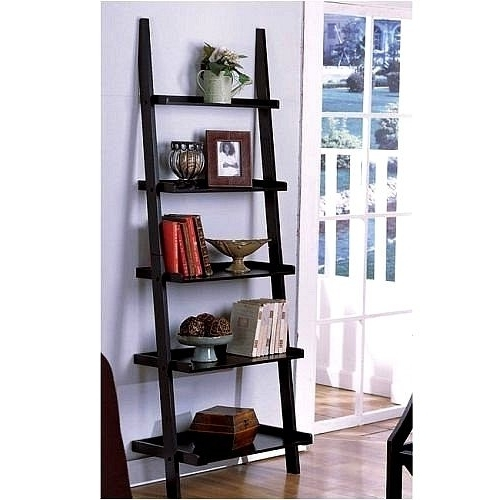Preferred Espresso Bookcases Intended For Bookcases Ideas: Mainstays Leaning Ladder 5 Shelf Bookcase (View 10 of 15)